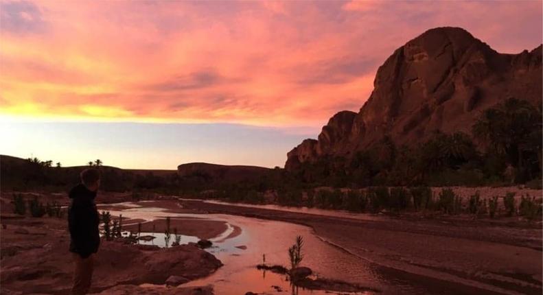 Illustration Sejour Totale Immersion : Photo d'un coucher de soleil dans l'oasis marocain, le ciel devient rose..