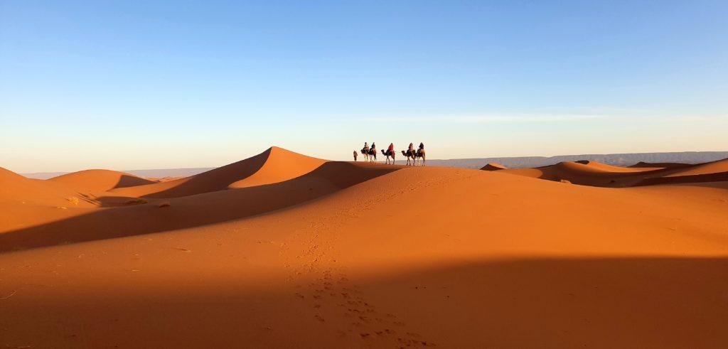 Photo du désert du Sahara avec un groupe de voyageurs en dromadaires