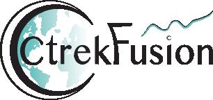 Logo de CtrekFusion avec planète bleu et blanche